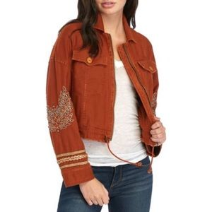 Free People Embellished Military Jacket M